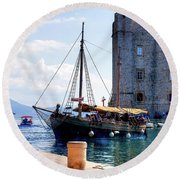 Docking In Dubrovnik Harbour Round Beach Towel