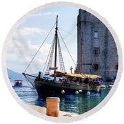 Docking In Dubrovnik Harbour Round Beach Towel