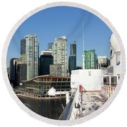 Docking In Vancouver Round Beach Towel