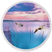 Docks And Pelicans Round Beach Towel
