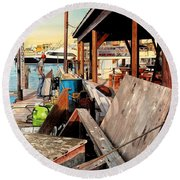 Docks At Port Aransas Round Beach Towel