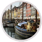 Dockside At Nyhavn Round Beach Towel by Eric Nielsen