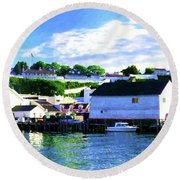 Dockside Round Beach Towel by Desiree Paquette