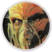 Round Beach Towel featuring the painting Doctor Satan by Taylan Apukovska