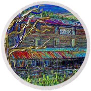Dodds Creek Mill, ,floyd Virginia Round Beach Towel