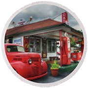 Round Beach Towel featuring the photograph Dodge At Cruisers by Lori Deiter