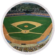 Round Beach Towel featuring the photograph Dodger Stadium by Panoramic Images