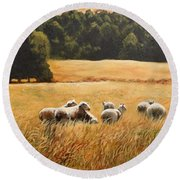 Does My Bum Look Big In This Paddock? Round Beach Towel