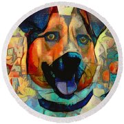 Dog And Cubes Round Beach Towel