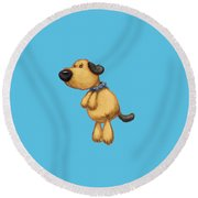 dog Round Beach Towel