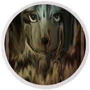 Round Beach Towel featuring the digital art  Dog Art  Sad Eyes by Sherri Of Palm Springs