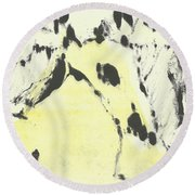 Dog At The Beach - Black Ivory 1 Round Beach Towel