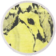 Dog At The Beach - Black Ivory 3 Round Beach Towel