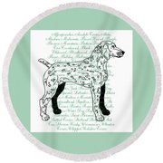 Dog Breeds Round Beach Towel