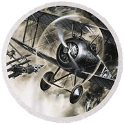 Dog Fight Between British Biplanes And A German Triplane Round Beach Towel by Wilf Hardy