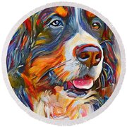 Dog In Colors Round Beach Towel