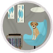 Dog In Egg Chair Round Beach Towel
