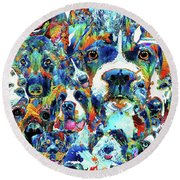 Round Beach Towel featuring the painting Dog Lovers Delight - Sharon Cummings by Sharon Cummings