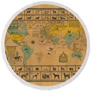 Dog Map Of The World - Breeds Of Dogs From Around The World - For Dog Lovers - Antique Chart Round Beach Towel