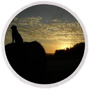 Dog On Hay Greeting Sunrise Round Beach Towel by Kent Lorentzen