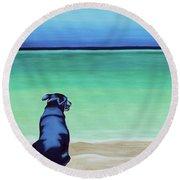 Dog On Longbay Beach Round Beach Towel