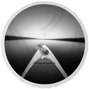 Round Beach Towel featuring the photograph Dog On Sup - Pinhole Photo by Will Gudgeon