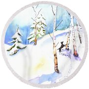 Dog Play In Snow Forest Round Beach Towel