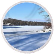 Dog Pond In Winter 1 Round Beach Towel