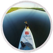 Round Beach Towel featuring the photograph Dog Sup  by Will Gudgeon