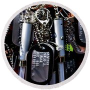 Dog Tags  Round Beach Towel by John S