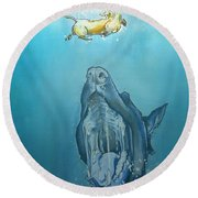 Dog-themed Jaws Caricature Art Print Round Beach Towel