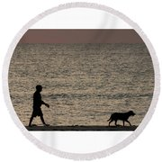 Dog Walker Dawn Delray Beach Florida Round Beach Towel