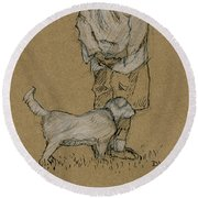 Dog Walker Plein Air Round Beach Towel