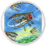 Dogfight Round Beach Towel by Scott Ross
