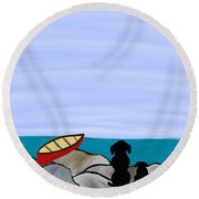Round Beach Towel featuring the digital art Dogs At Beach by Paula Brown