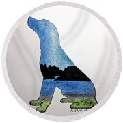 Round Beach Towel featuring the painting Humble by Edwin Alverio