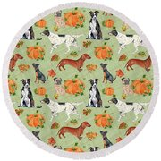 Dogs In Pumpkin Patch-a Round Beach Towel