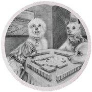 Dogs Playing Mahjong Round Beach Towel