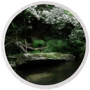 Rhododendron Along The River Round Beach Towel