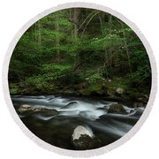Round Beach Towel featuring the photograph Dogwood Along The River by Mike Eingle