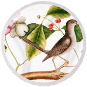 Dogwood  Cornus Florida, And Mocking Bird  Round Beach Towel