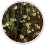 Round Beach Towel featuring the photograph Dogwoods In The Spring by Mike Eingle