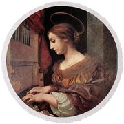 Dolci Carlo St Cecilia At The Organ Round Beach Towel by Carlo Dolci