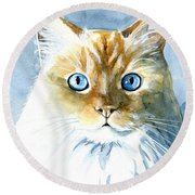 Doll Face Flame Point Himalayan Cat Painting Round Beach Towel