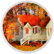 Doll House And Foliage Round Beach Towel