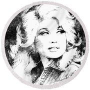 Dolly Parton Bw Portrait Round Beach Towel by Mihaela Pater