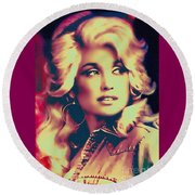 Dolly Parton - Vintage Painting Round Beach Towel by Ian Gledhill