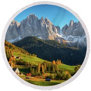Dolomite Village In Autumn Round Beach Towel