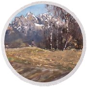Dolomites And A Lady With A Little Dog Round Beach Towel
