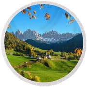 Dolomites Mountain Village In Autumn In Italy Round Beach Towel